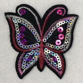 Pailletten vlinder applicatie rood