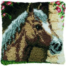 Paard in stal knoopborduurkussen