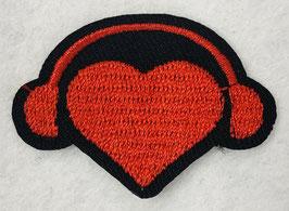 Rood hart met koptelefoon applicatie