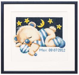 Borduurpakket van geboorte beertje blauw.