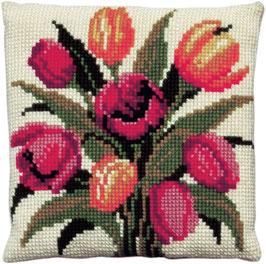 Tulpen kruissteek borduurkussen