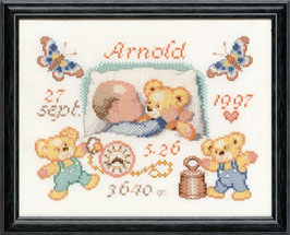 Borduurpakket van baby met teddybeertjes.