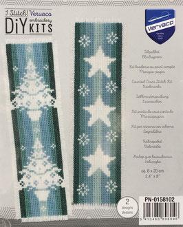2 Bladwijzers borduurpakket met kerstbomen en sterren.