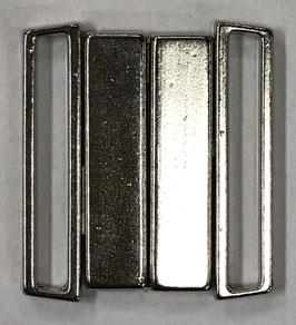 Bikini sluiting rechthoek 25 mm zilverkleur