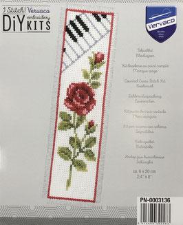 Bladwijzer borduurpakket van een rode roos met piano toetsen.
