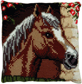 Paardenhoofd kruissteek borduurkussen