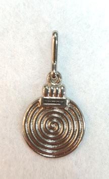Zilverkleur ritsenschuivertrekker rondje met een spiraal