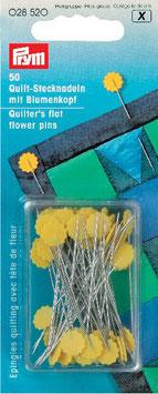 Quilt spelden met gele bloem knop