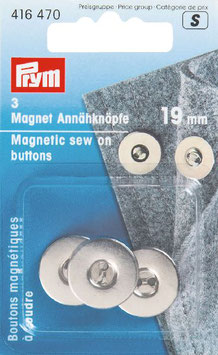 Magneetknoop om aan te naaien 19 mm.