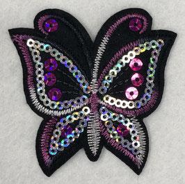 Pailletten vlinder applicatie roze