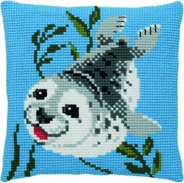 Grijze zeehond kruissteek borduurkussen