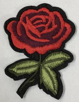 Roos met 3 groene blaadjes met steel naar links applicatie