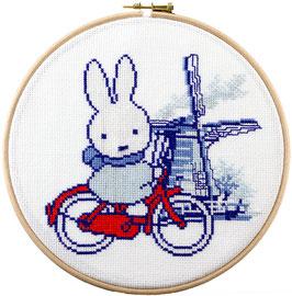 Nijtje op de fiets in een borduurring
