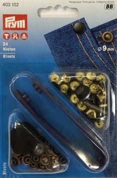 Jeans nieten brons en antraciet kleur