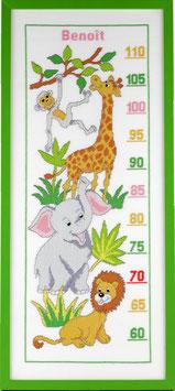 Borduurpakket van een groeimeter met dieren.
