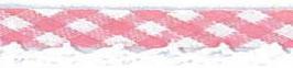 Ruitjes biaisband met een kantje licht roze