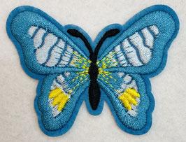 Applicatie vlinder turquoise met een zwart lijf