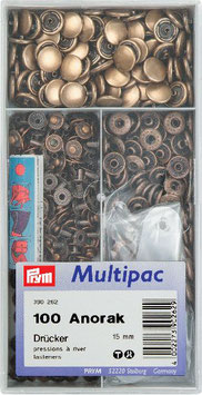 Drukknoop inslaan brons kleur 15 mm grootverpakking