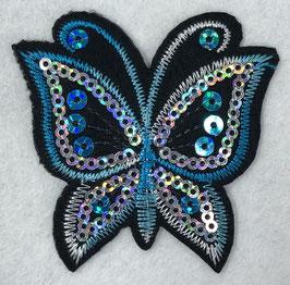 Pailletten vlinder applicatie blauw