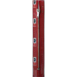 Signaal rode rits met zilver kleurig metaal niet deelbaar