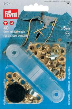 Ringen met schijven 5 mm goudkleurig