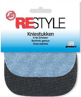 Kniestukken jeans 2 kleuren mix