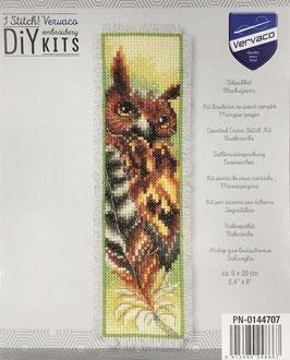 Bladwijzer borduurpakket van een uil met een veer