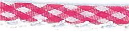 Ruitjes biaisband met een kantje roze