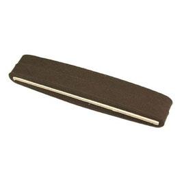 Donker bruin biaisband van katoen 12 mm op 5 meter kaartje