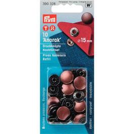 Drukknoop inslaan koper kleur 15 mm navulling