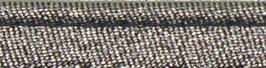 Donker zilver glitter paspelband