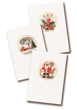 3 borduurkerstkaarten inclusief 3 enveloppen kaars/huis/kerstman