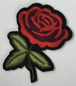 Roos met 3 groene blaadjes met steel naar rechts applicatie