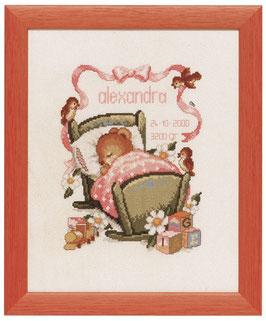 Borduurpakket met een wiegje (roze).