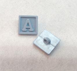 Vierkante knoop met de letter A 2X medium blauw