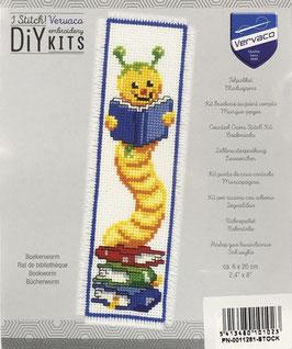 Bladwijzer borduurpakket van een boekenworm.