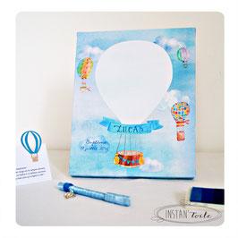 Tableau à empreintes : montgolfières en aquarelle tonalités bleues et touche de orangé