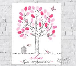 """Arbre à empreintes : cage et oiseaux en nuances de rose - style """"dessin, crayonné à la main"""""""