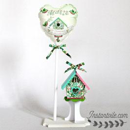 Ballon personnalisé et nichoir  oiseau Liberty Betsy vert pour décoration