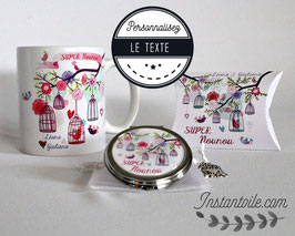 Duo cadeau : mug + miroir de poche à personnaliser - cages et oiseaux colorés sur branches pour maitresse ou nounou