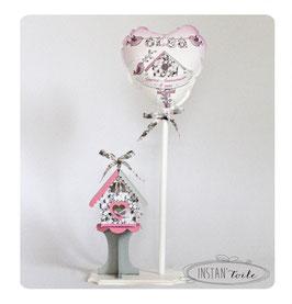 Ballon et nichoir Liberty Mitsi gris pour décoration
