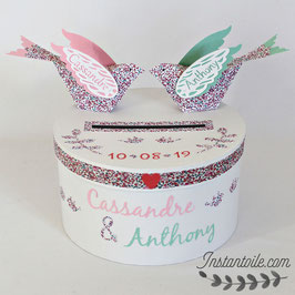"""URNE ronde mariage thème """"oiseaux en liberty Eloise pastel : rose, corail, vert d'eau avec ruban liberty"""""""