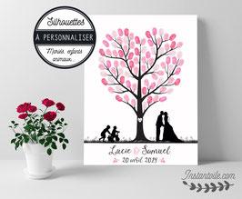 Arbre à empreintes : silhouette d'arbre forme coeur avec mariés et personnages à personnaliser