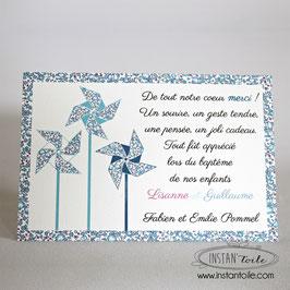 """Carte de remerciement pour naissance, baptême... thème """"Moulins à vent en liberty"""""""