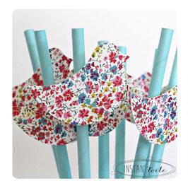"""8 pailles pour table de fête thème """"Oiseau en liberty Phoebe multicolore"""""""