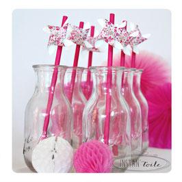 """pailles pour table de fête """"Moulin à vent qui tourne en liberty Phobe rose rouge """""""