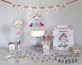 Kit décoratif anniversaire à personnaliser  - thème licornes, fleurs & plumes - rose et vert