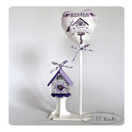 Ballon et Nichoir Liberty violet pour décoration