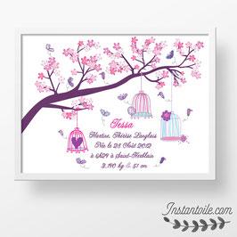 Tableau naissance personnalisé  : Papillons et cages sur branche d'arbre fleuri pour décorer la chambre de bébé