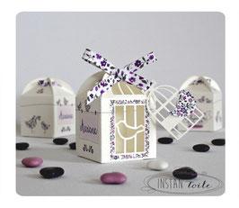 Boite cage et oiseaux avec ruban liberty violet
